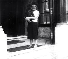 Friedel Löwenhardt (1909-1983) with her poodle named Othello at Sandringham Court, London, 1950s