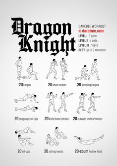 Dragon Knight is a total body strength and fitness workout for Knights ready to slay Dragons. Hero Workouts, Gym Workout Tips, Fit Board Workouts, Workout Challenge, Workout Videos, At Home Workouts, Workout Men, Workout Routines, Workout Fitness