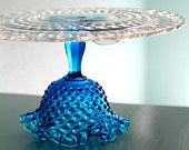Glass Cake Stand in Cobalt Blue / Vintage Cake Plate / Cake Pedestal Stand / Cake Dish Cake Platter / Truffle Pedestal / Cupcake Stand