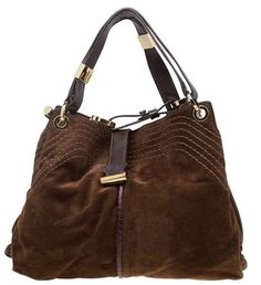 Jimmy Choo Cognac Suede And Leather Trim Alex Bag $550.0