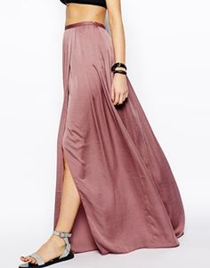 Falda larga suave con abertura de ASOS