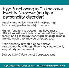 High functioning in Dissociative Identity Disorder (multiple personality disorder) Impairment varies from minimal (e. Types Of Anxiety Disorders, Generalized Anxiety Disorder, Social Anxiety Disorder, Stress Disorders, Mental Disorders, Abnormal Psychology, Psychology Disorders, Counseling Psychology, Psychology Programs