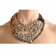 Assad Mounser - Plated Chain Collar Necklace with rhinestone and metal beads, and color gradations of diamond drops and triangle chain