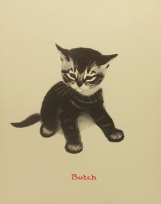 Vintage Butch the Kitten Kids Wall Art Children by earlybirdsale, $8.00