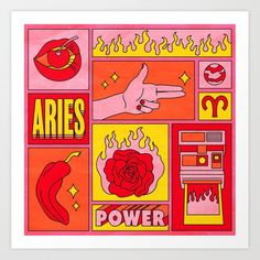Aries Mini Art Print by Berlin Michelle - Without Stand - x Arte Aries, Aries Art, Zodiac Art, Aries Zodiac, Zodiac Signs, Horoscope Capricorn, Capricorn Facts, Astrology Signs, Aries Aesthetic