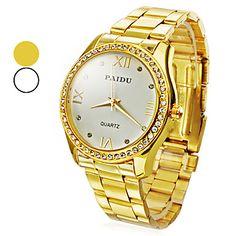 Women's Watch Fashion Diamond Dial Gold Steel – USD $ 10.79