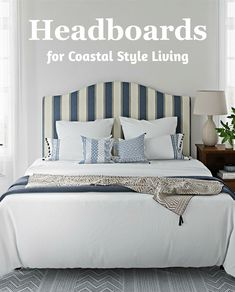 Headboards and beds that provide coastal ambiance for a relaxing bedroom retreat. From upholstered blue striped headboards to wicker and everything in between. Take a look at these inspirational beds and shop the look at Completely Coastal. Coastal Bedrooms, Coastal Living, Cottages By The Sea, Bedroom Retreat, Beach Bungalows, Headboards For Beds, Bedroom Themes, Coastal Style, Interiores Design
