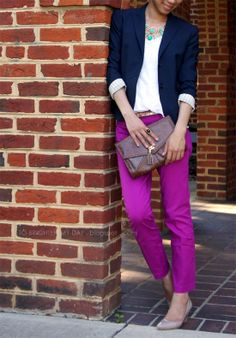 navy blue blazer, white tee, j crew pink/fuchsia pants. I wish I could afford J Crew... Tear.