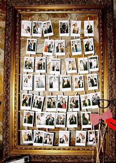Polaroids are fun and give your wedding a chic retro touch. How can you include them into décor? There are lots and lots of creative ideas! For example, make a banner of them and hang it over your reception or just hang them all...