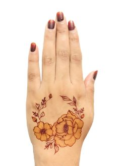 A new mehendi technique for mehendi lovers. Henna Flower Designs, Modern Henna Designs, Latest Henna Designs, Henna Art Designs, Mehndi Designs For Beginners, Henna Flowers, Khafif Mehndi Design, Mehndi Designs For Girls, Mehndi Design Photos