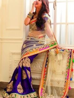 Designer Chiku Net and Blue Silk Georgette Worked Bridal Saree @ 2649 only