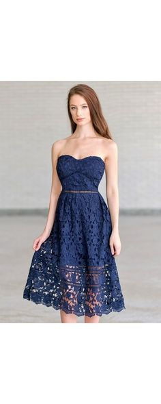 Lily Boutique Longing For Love Crochet Lace Midi Dress in Navy, $54 Navy Lace Midi A-Line Dress | Cute Navy Blue Summer Dress | www.lilyboutique.com