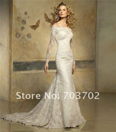 Image detail for -Fashion off shoulder long sleeve sheath lace bridal dress-in Wedding ...