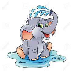 Funny Cartoon Baby Elephant Which Pours Stock-Vektorgrafik (Lizenzfrei) 268453025 Baby Elephant Drawing, Mom And Baby Elephant, Baby Animal Drawings, Cartoon Elephant, Baby Elephants, Cow Cartoon Images, Baby Cartoon, Cute Cartoon, Cartoon Clip