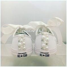 bcc3c3b701a3 All white Leather Childrens Pearl Converse   kids converse   Leather  Converse  Vintage   Unique sneakers   pearl chucks   bling converse