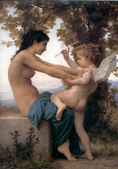 """William-Adolphe Bouguereau (1825-1905) """"young woman defending herself against eros"""" One of my fave paintings."""