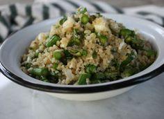 Bulgur Salad with Asparagus,  Mint & Feta