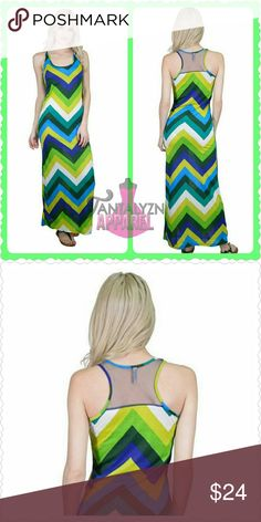 Sale-GREEN ENVY MAXI GREEN ENVY MAXI DRESS Beautiful shades of greens n blues with a chevron print. Oh so cute sheer racer back. Looks great with wedges or your favorite sandals.  -minimal stretch -95% polyester 5% spandex  Bundle n Save  Multiple items...1 shipping fee!  Approximate Bust Sizing SMALL:33-35 MEDIUM: 36-38 LARGE: 39-41 XLARGE:42-44  Last pic shows Small Model height 5/4. Bust 34D Dresses Maxi