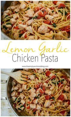 Lemon Garlic Chicken Pasta. A 21 Day Fix approved pasta recipe.