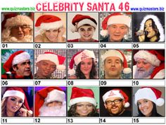 Celeb Santa Christmas Picture Quiz, Christmas Quiz, Christmas Pictures, Body Shop At Home, The Body Shop, Gavin Henson, Aston Kutcher, Jason Manford, Noel Edmonds
