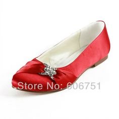 New flat heel red satin rhinestone evening party shoes round toe bridal wedding shoes for women custom made low heels size 35-45 on AliExpress.com. 5% off $79.84