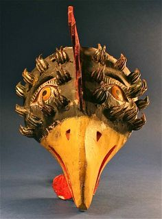 Antique Mexican Decorated Folk Art Wood Bird Rooster Mask