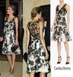 """Queen Letizia wearing Carolina Herrera dress to attend the """"Mariano de Cavia"""" Awards dinner in Madrid. Reina Letizia en un elegante vestido de Carolina Herrera para la ceremonia."""