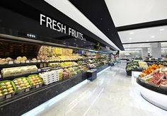 A supermarket like this , love it so clean and love the design white and black because te products are much color so beautyfull.