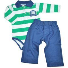 57469d5d51 Conjunto bebê menino body polo com calça em suedine Mini   Kids. Moda bebê