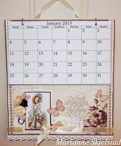 Here I have made a calendar to hang on the wall. For this I have used papers and details from three different Pion Design collections. The motif is colored using Distress markers.Have a lovely day,MariannePion products:My Beloved Son – Anemone PD5503My Beloved Son – Writings…