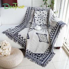 Dulcii Scandinavian Double Sided Knitted Multi-Function Throw Blanket Tapestry with Decorative Tassels for Sofa Bed Chair Couch Cover, Super and Lightweight, 51 X 71 (Royal Rhombus) Couch Throws, Sofa Throw, Home Decor Items Online, Cheap Blankets, Sofa Blanket, Relax, Soft Towels, Couch Covers, Vintage Home Decor
