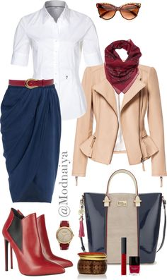 """#Stylish and businesslike!"" by modnaiya on Polyvore - I'd change the shoes. I love the color, but I think I'd prefer pumps."