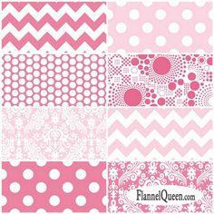 Fat Quarter Bundle - Pink Flannel Fabric Coordinates by Riley Blake Designs…