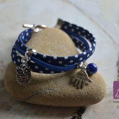 Bracelet 3 rangs bleu marine à pois