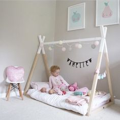 Stunning photo of the tipi bed in a beautiful girls room by Big Girl Rooms Beautiful bed childwood Girls Photo room Stunning surrey Tipi Boys Space Bedroom, Cool Kids Bedrooms, Baby Bedroom, Baby Room Decor, Boy Room, Girls Bedroom, Toddler Floor Bed, Toddler Rooms, Teepee Bed