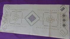 My half done table runner 25 count laguna fabric dmc size 8 and 12