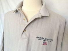 Harley-Davidson Golf Polo Shirt 2X Beige Striped Short Sleeves Made In USA Mens   eBay