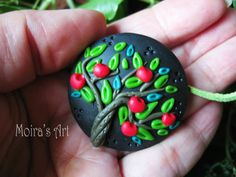 Summer Apple Tree Polymer clay jewelry  Unique by MoirasArt, $19.00