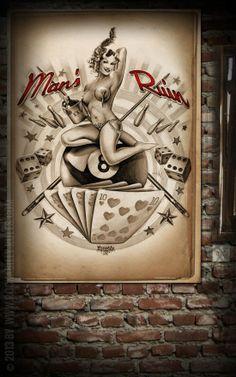 Rumble59 Poster - Mans Ruin - Poster mit handgemaltem Pin-Up Motiv auf hochwertigem Papier im DIN A1 Format. - Rockabilly-Rules.com