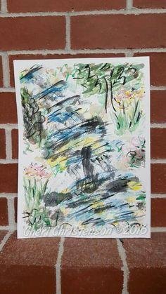 Along the falls watercolor by Cheri Christenson