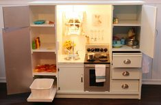 On A Cold Day: DIY Play Kitchen From Old TV Stand!
