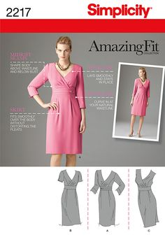 2217 Misses' Amazing Fit Dresses  Misses' Amazing Fit dress with individual pattern pieces for Slim, Average and Curvy Fit and A, B, C, D cup sizes.