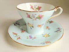 Gaiety Aynsley Tea Cup and Saucer, English Bone China Teacups, Tea Set, Antique Tea Cups, Blue Cups, Tea Sets, Corset Shaped, VogueTeam