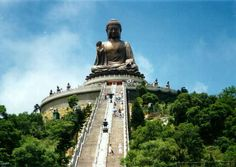China,Hong Kong,Lantau,The Worlds Largest Outdoor Seated Bronze Buddha Statue at the Po Lin Monastery