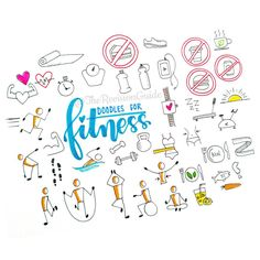 Excercise/ fitness doodles ©TheRevisionGuide Doodles and lettering from instagram.com/therevisionguide