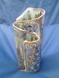 Custom Handbuilt Pottery Wave Vase by KimCreations | Hatch.co