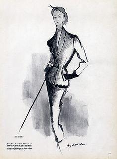 Hermès (Couture) 1951 Suit of Cocktail, Simone Brousse, Fashion Illustration