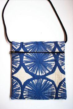 NWOT Handmade Blue & Ivory Printed Fabric SMALL PURSE CROSS BODY SHOULDER BAG  #Handmade #MessengerCrossBody