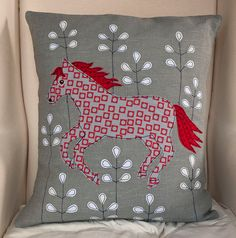 Horse handmade Applique Cushion by LucyLevenson on Etsy, £59.00