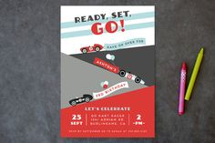 Monaco Children's Birthday Party Invitations designed by Shirley Lin Schneider  Race Car Birthday Invitation